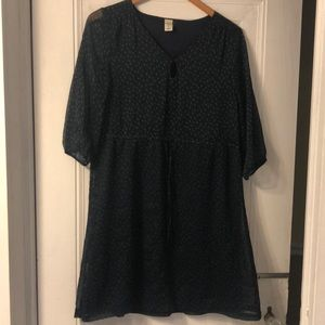 Women's small old navy navy dress with green dots